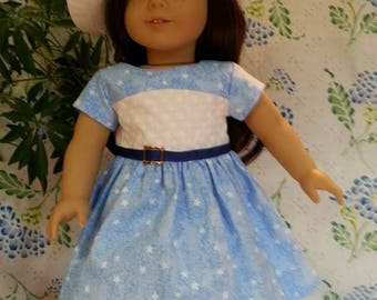 American Girl Doll-Light Blue and White Star Dress and Hat