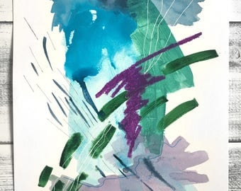 Original Mixed-Media Abstract Painting on Paper