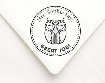Great Job Teacher Stamp Owl Design, Personalized Name Teacher Stamp, Custom Teacher Gift Stamp, Teacher Rubber Stamp