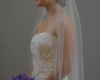 "Elegant 34"" Hip Length Pearls Scattered  Wedding Veil with Raw/Cut Edge"