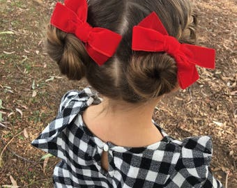 VALENTINE'S DAY RED Hand tied velvet bow for babies, toddlers and little girls red piggy set, piggies