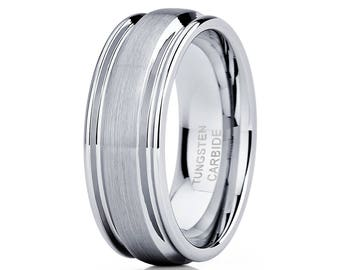 Tungsten Wedding Band Grey Tungsten Ring Men & Women Grey Brush Tungsten Carbide Ring Anniversary Band Comfort Fit