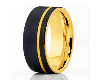 Yellow Gold Tungsten Wedding Band Engagement Ring Tungsten Carbide Ring Men & Women Yellow Gold Tungsten Ring
