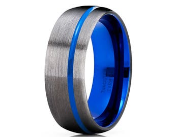 Blue Tungsten Wedding Band Gunmetal Tungsten Wedding Ring Men & Women Tungsten Carbide Ring Gunmetal Tungsten Wedding Band