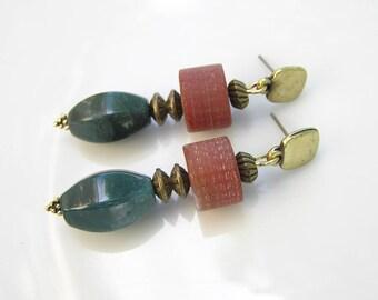 Statement wife gift Green women earrings Gemstone woman gift Long women earrings Statement earrings Gemstone wife gift Green bohemian gift