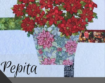 Pepita / Poinsettia Quilt / Quilted Wall Hanging / Pattern / #usebothsides / Quilt Patterns / Christmas Decor / Fusible Applique / Art Quilt