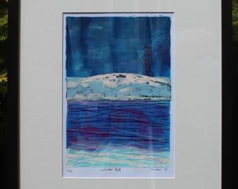 Winter Hill. Original Linocut Limited Edition of 10 Linoprints.  Numbered-Signed-Mounted Landscape Rivington Lancashire
