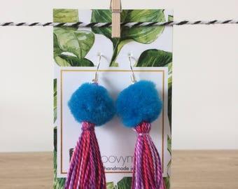 blue and purple pom-pom tassel earrings