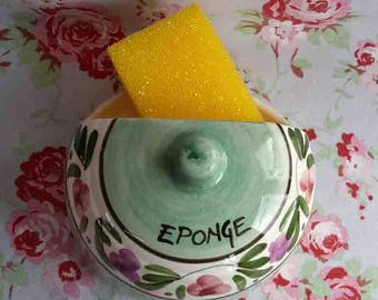 """Vintage French Sponge Holder """"Eponge"""" in French Writting Dish Plate Made in France Ceramic Flower Pattern Country Home Decor Hand Painted"""