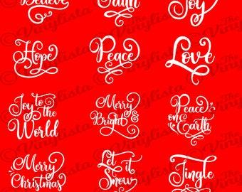 Christmas svg bundle, Christmas words ornament SVG bundle