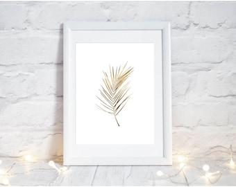 gold leaf printable, gold leaf wall art, gold palm leaf, tropical leaf print, gold leaf poster, palm leaf print, palm leaf printable