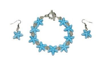 Starfish jewelry set, starfish bead, bracelet and earrings set, beach jewelry, starfish jewelry, nickel free, tropical jewelry, under 20