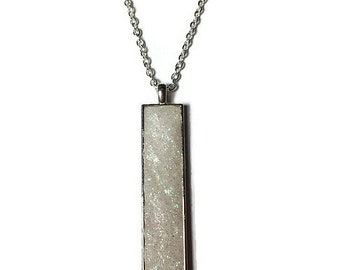 Drop pendant, drop necklace, bar pendant, crystal pendant, boho, under 20 dollars, geode pendant, druzy pendant, rectangle pendant, white