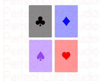 4 for 1 Playing Card Symbols SVG and Studio 3 Cut File Pokerfor Cricut Silhouette SVGs Spade Heart Club Diamond Cards Cutouts Downloads