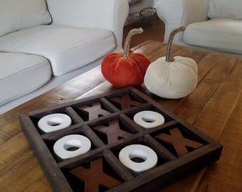 Farmhouse Wood Board Rustic Coffee Table Nine Squares