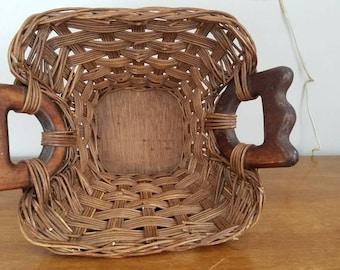 Vintage Woven Basket, Handled Basket