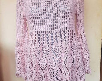 tunic/ crochet dress /rose tunic/dress long sleeves tunic/lace tunic/pregnancy tunic/handmade top