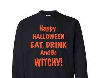 Halloween Witch Party Sweatshirt Funny Cute Sweater Happy Halloween Party Costume