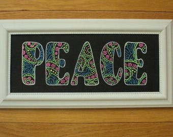 Handcrafted Chalkboard Art:   Paisley Peace