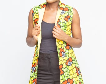 Ankara Sleeveless Jacket