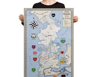 Game of Thrones Westeros Map Canvas | Map of Westeros Canvas | Game of Thrones Map  | Game of Thrones Map Art | GOT Westeros Antique Map