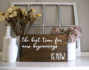New Beginnings Rustic Wooden Sign  |  Hand Lettered  |  Home Decor  |  Insiprational Quote  |  Gift Idea  |  Farmhouse Style