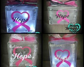 HOPE Light up glass block , Breast Cancer Awareness  Pink