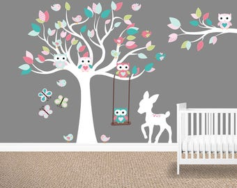 Girl's room wall decals, Owl tree wall decal,  Girl's nursery decals, Owl stickers, Baby girl wall decals, Forest Frolic, Cloud island
