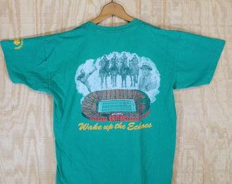 """Vintage 1990's 1994 NOTRE DAME """" The Shirt """" Knute Rockne Four Horsemen Cotton T Shirt T-Shirt Tee Large  L  -  XL"""