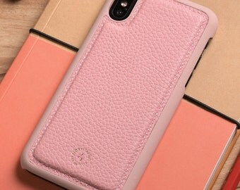 Apple iPhone X / iPhone 10 Genuine Leather Back Cover in Pink Pebble Grain Genuine Leather