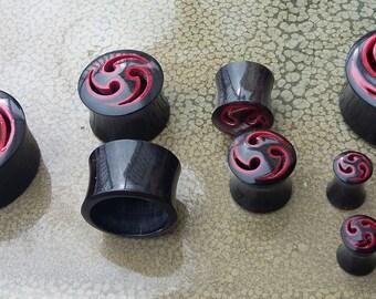 Red & Black Handmade Horn Plugs