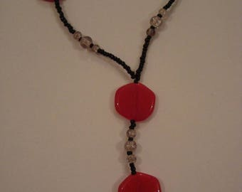 Original necklace red and black beads