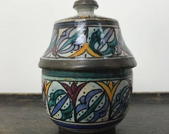 Antique Moroccan Ceramic and Copper Lidded Jar Multicolor Polychrome Fez Pottery