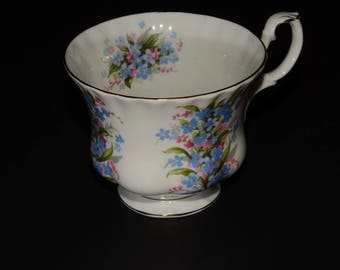 ROYAL ALBERT, Springtime Series, Forget me not, Bone China, Teacup only, Gold Rimmed, England, Vintage, blue and pink flowers, orphan teacup