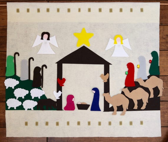 Diy Advent Calendar Nativity : No sew diy felt nativity advent calendar kit christmas