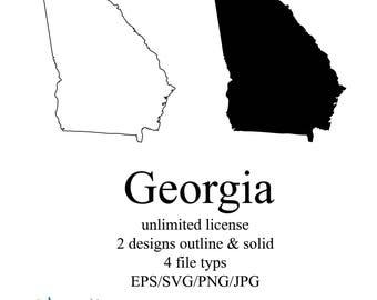 Georgia Map Etsy - State map georgia