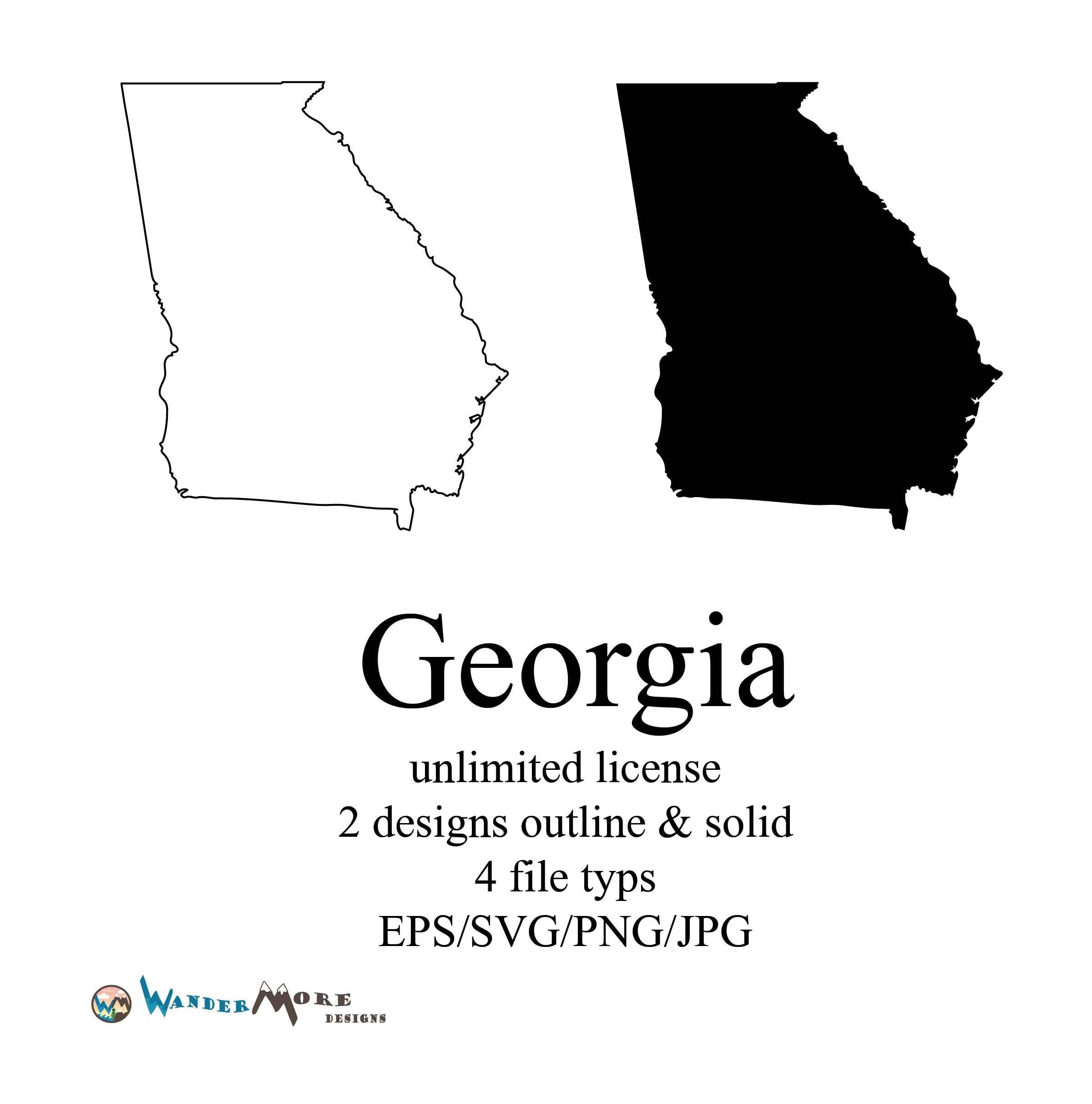 Georgia Vector State Clipart Georgia Svg State Png Georgia Map - State of georgia map outline