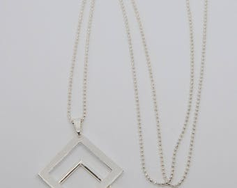 Square silver pendant necklace