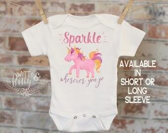 Sparkle Wherever You Go Pink Unicorn Onesie®, Bohemian Onesie, Cute Baby Bodysuit, Cute Onesie, Boho Baby Onesie, Girl Onesie - 246S