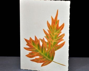 Hand painted fall leaves adorn this blank greeting card