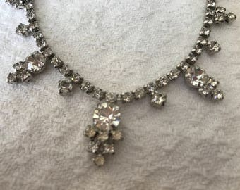 Vintage Edwardian style necklace with sparkly clear rhinestones.