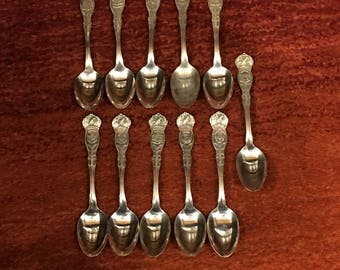 United States State Spoons Each with a Different Crest (SET OF 11) Vintage From 1915