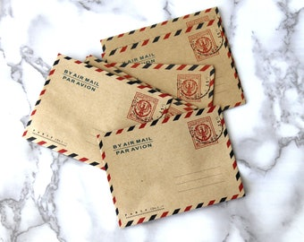 5PCS Vintage Style Mailing Envelopes, Mini Retro Envelopes, France Old Air Mail Envelopes, Collectors Gift Ideas For Birthday Under 5