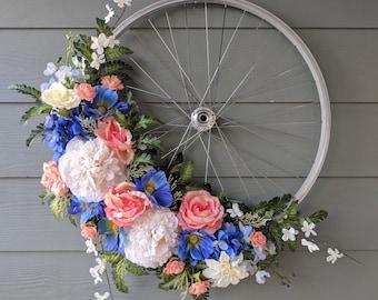 Silver Bike Wheel Wreath in Blue, Peach, & White