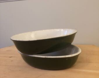 Set of Two (2) Hall # 709 Green Baking Casserole Au Gratin Dishes Restaurant Ware Oval Serving Bowl Dish