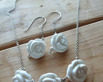 White Howlite Carved Flower Necklace and Earring Set