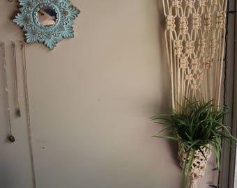 macrame plant hanger, indoor garden, plant pot holder, hanging planter, macrame pot hanger, modern macrame, rope hanger, beige holder