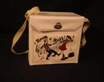 Rock & Roll !-45 RPM Record Carrier-Vinyl Carrying Case with Shoulder Strap Purse Handle- Rare Record Box