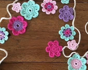 Crochet flower garland