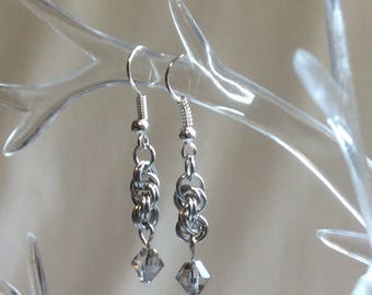 Double Spiral Chain Mail Earrings with Black Diamond Swarovski Crystal